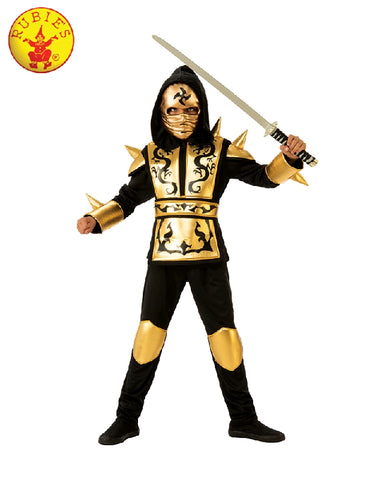 GOLD NINJA COSTUME, CHILD - SIZE L