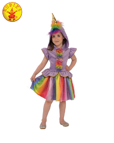 COLOURFUL UNICORN COSTUME, CHILD - SIZE S