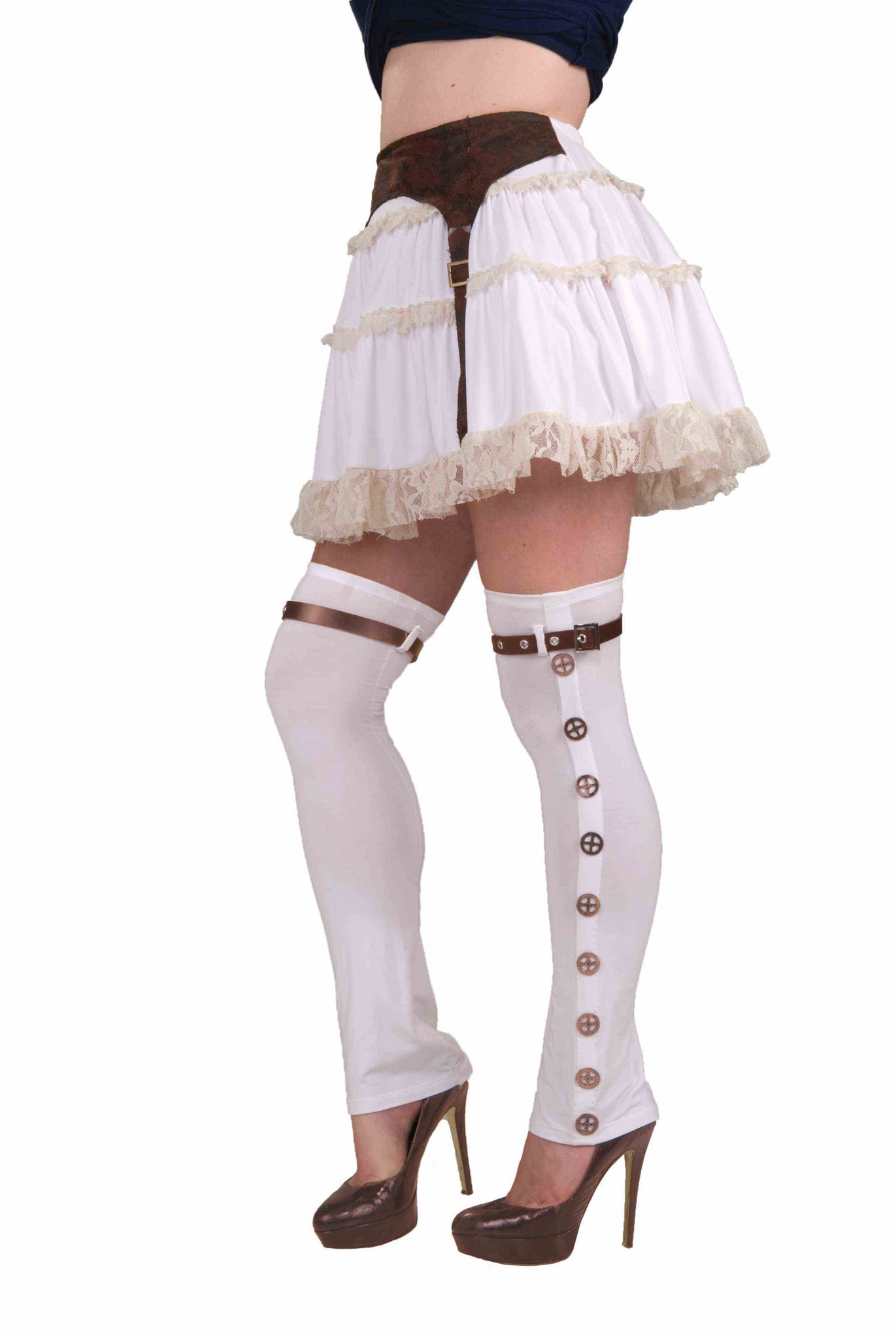 STEAMPUNK THIGH HIGH BUCKLED SPATS-WHITE