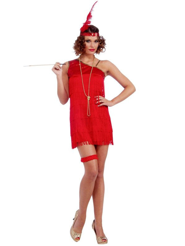 Sexy Red Flapper Costume, Adult - Size STD