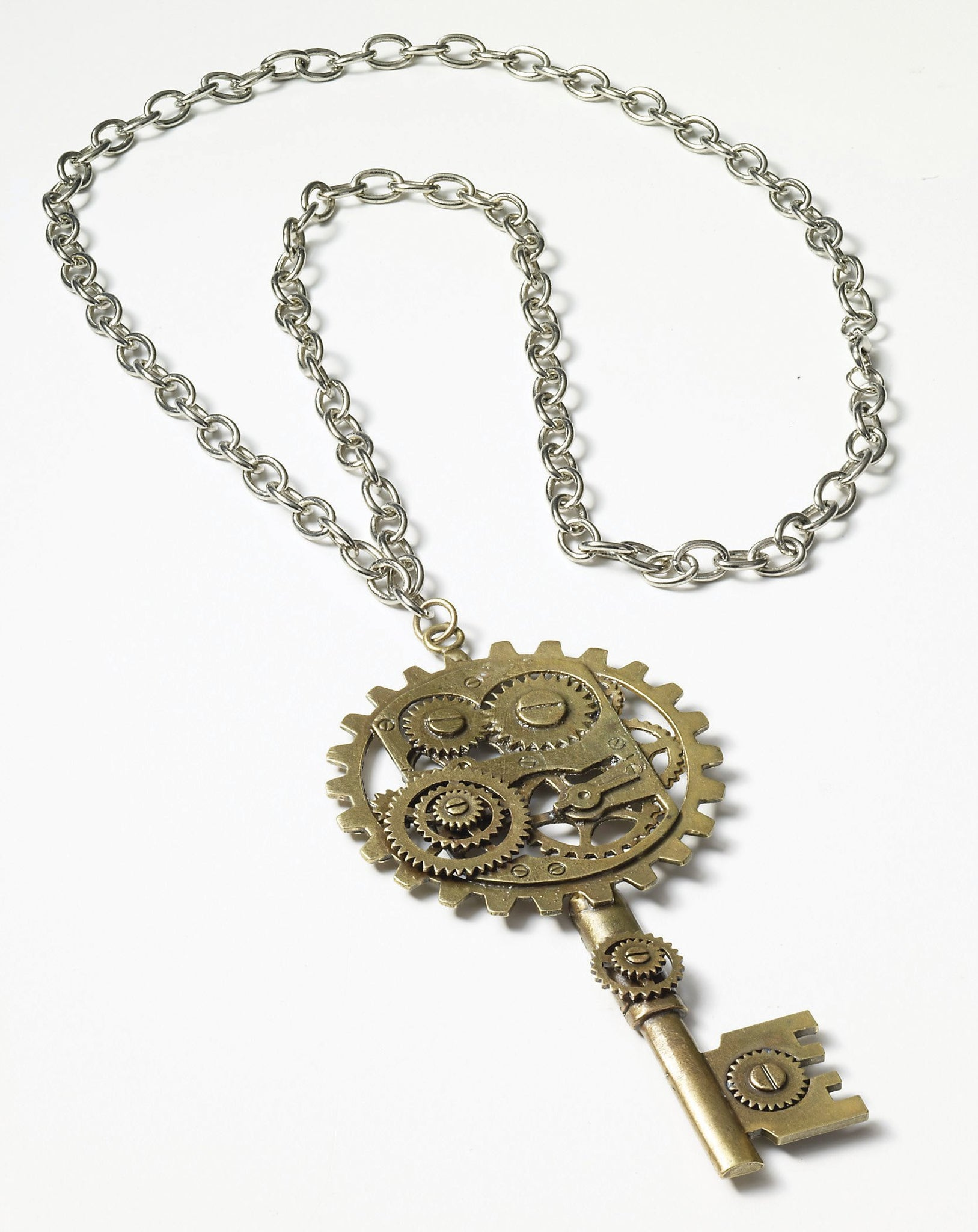 STEAMPUNK COPPERKEY/GEARS NECKLACE