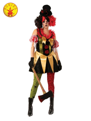 EVIL CLOWN LADY COSTUME, ADULT - SIZE S