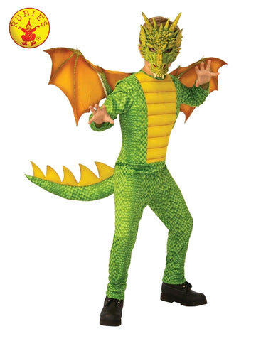 GREEN AND GOLD DRAGON COSTUME, CHILD - SIZE L