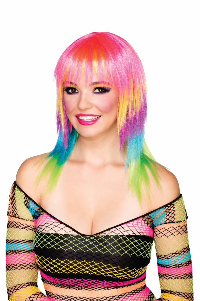 CLUB CANDY STRIPED FESTIVAL WIG, ADULT SIZE