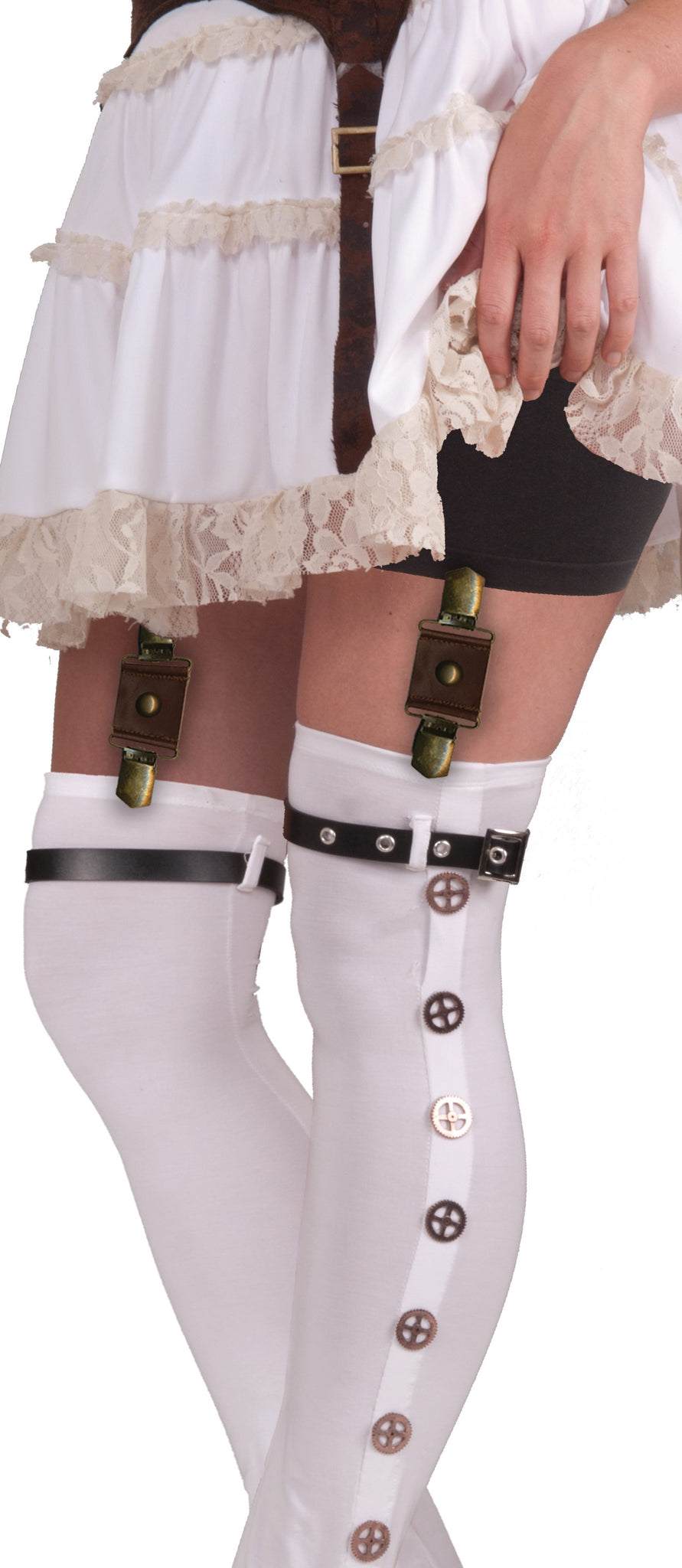 STEAMPUNK GARTER WITH BUCKLES BROWN