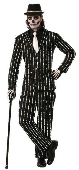 SKELETON BONE PINSTRIPE SUIT, ADULT - SIZE STD