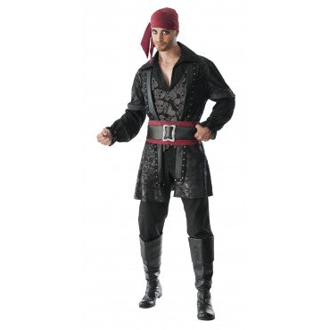 BLACK BEARD PIRATE COSTUME, ADULT - SIZE STD