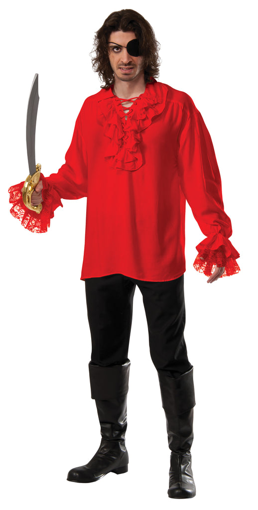 PIRATE SHIRT RED RUFFLED ADULT - SIZE STD