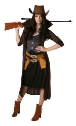 GUNSLINGER WOMAN COSTUME, ADULT - SIZE S