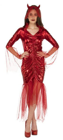 RED DEVIL BRIDE COSTUME, ADULT - SIZE STD