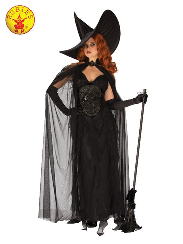 ELEGANT BLACK WITCH COSTUME, ADULT - SIZE S
