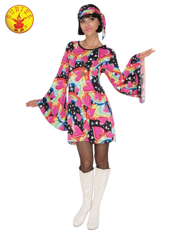 PINK 60S GO-GO COSTUME, ADULT - SIZE S