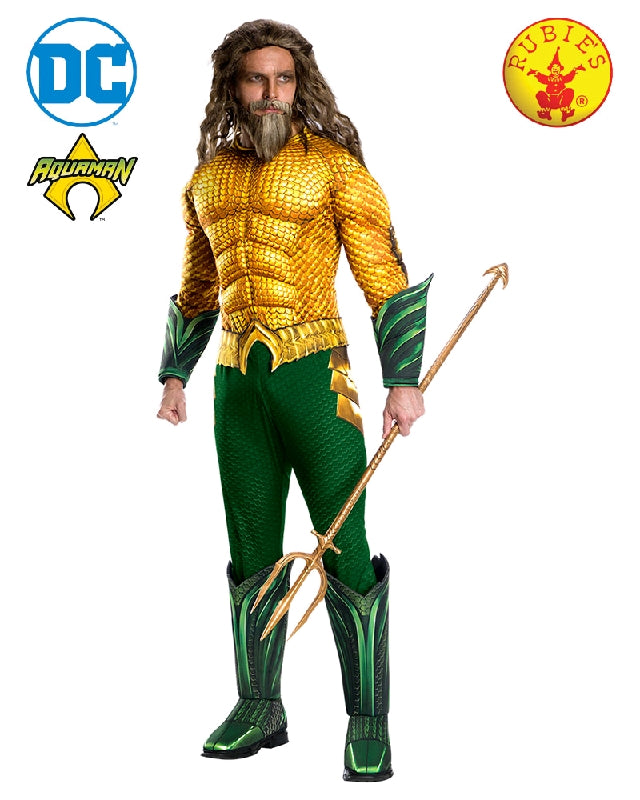 AQUAMAN GREEN AND GOLD COSTUME, ADULT - SIZE STD