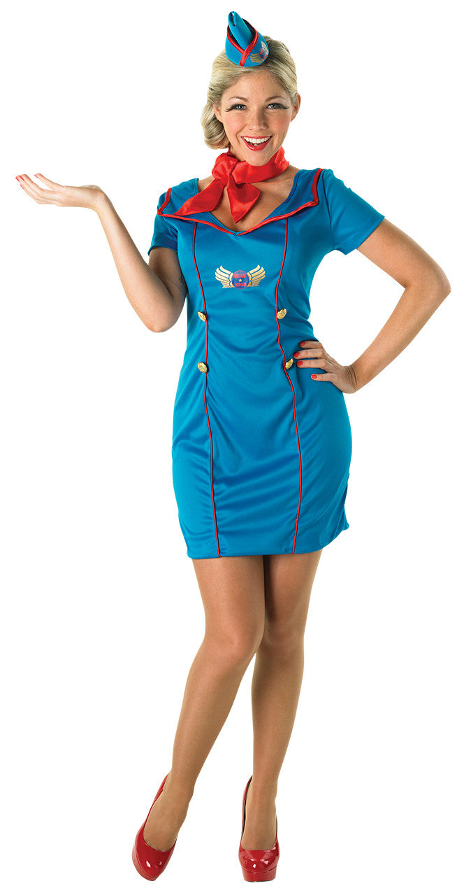60s AIR HOSTESS COSTUME, ADULT - SIZE S