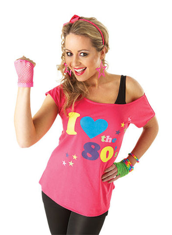 I LOVE THE 80S T-SHIRT COSTUME, ADULT - SIZE S