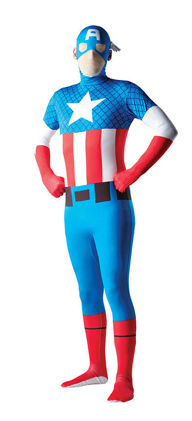 CAPTAIN AMERICA 2ND SKIN SUIT, ADULT - SIZE M