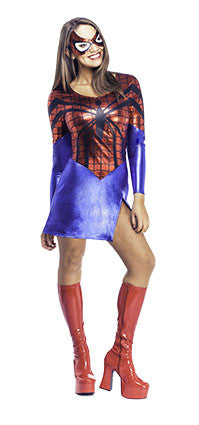 SPIDER-GIRL DRESS AND MASK, ADULT - SIZE L