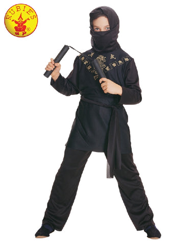 BLACK NINJA COSTUME, CHILD - SIZE S
