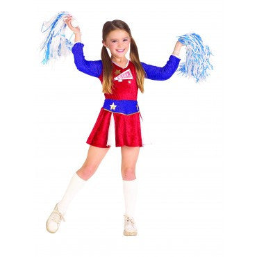 RETRO CHEERLEADER COSTUME, CHILD - SIZE S