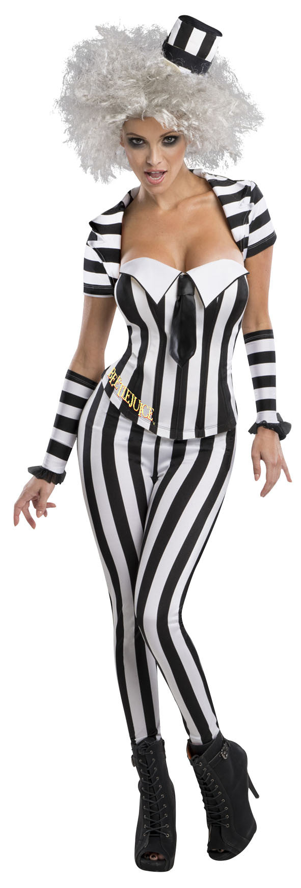 BEETLEJUICE SECRET WISHES BLK/WHT CORSET - SIZE XS