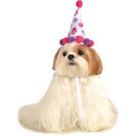 PAW PRINT GIRL PET BIRTHDAY HAT - SIZE S-M
