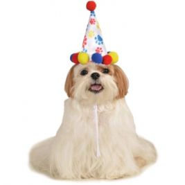 PAW PRINT BOY PET BIRTHDAY HAT - SIZE S-M