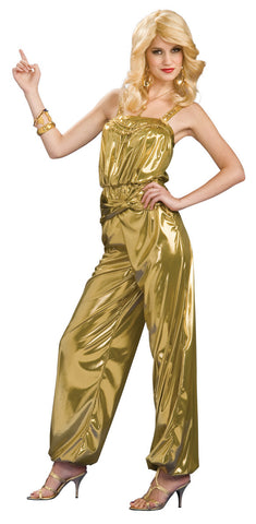 SOLID GOLD DIVA 70'S JUMPSUIT COSTUME, ADULT - SIZE STD