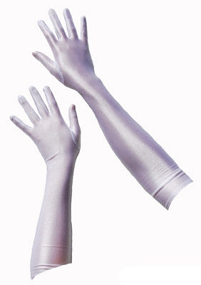 Long Satin Gloves - White