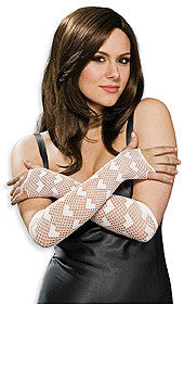 FISHNET FINGERLESS LONG HEART GLOVES - PINK