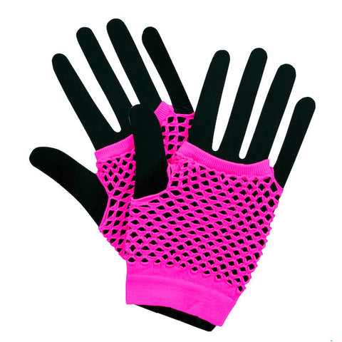 Short Fishnet Punk Gloves - Neon Pink