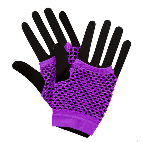 Short Fishnet Punk Gloves - Neon Purple