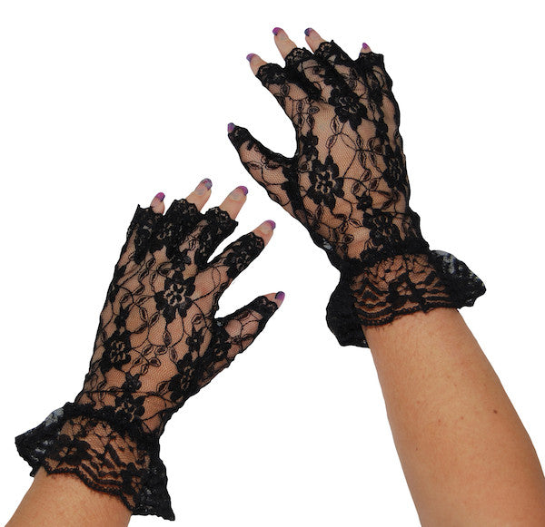Short Lace Fingerless Gloves - Black