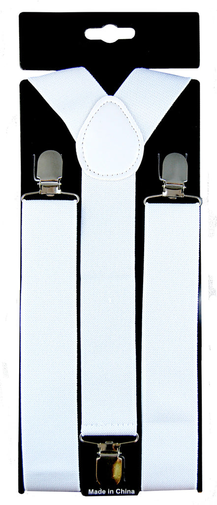Stretch Braces/Suspenders - White