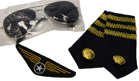 Aviator Kit - Glasses, Epaulets & Badge
