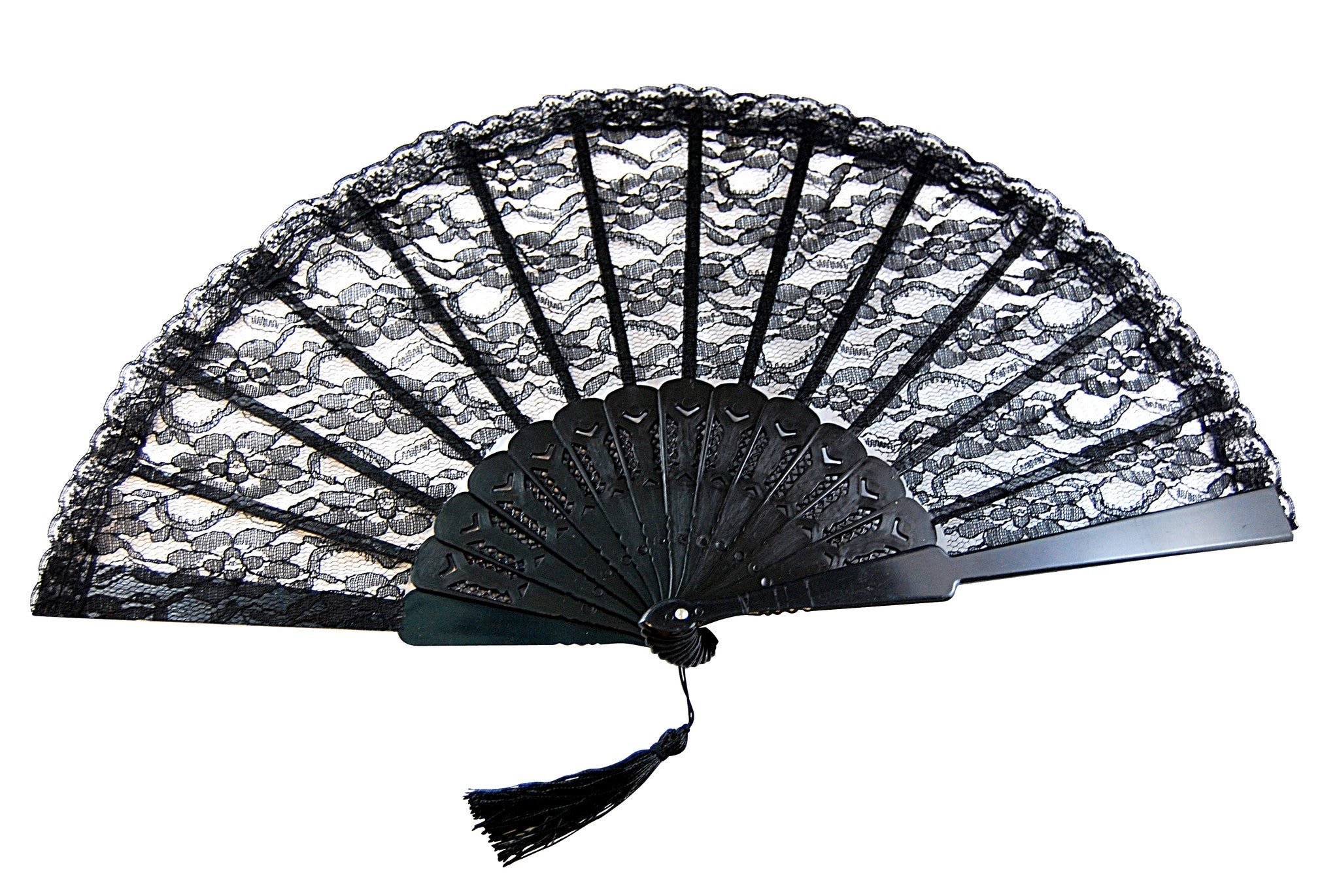 Lace Fan w/Tassel - Black