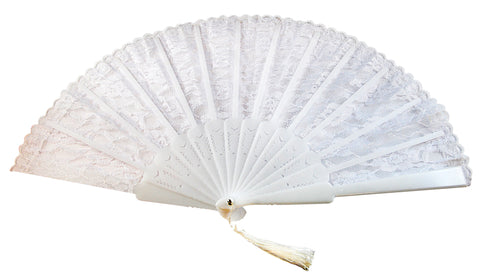 Lace Fan w/Tassel - White