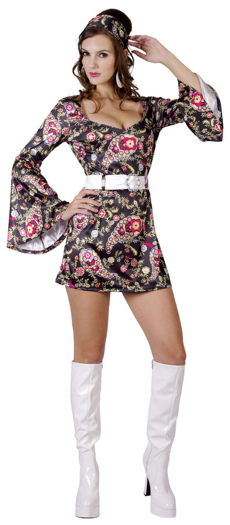 FLORAL 60S GO-GO COSTUME, ADULT - SIZE L