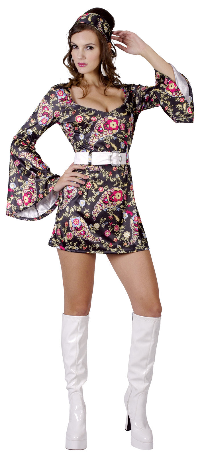 FLORAL 60S GO-GO COSTUME, ADULT - SIZE M