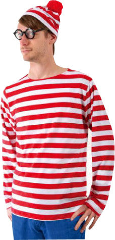 Red and White Striped Wally Costume, Adult - Size STD