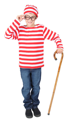 Red and White Striped Wally Costume, Child- Size M