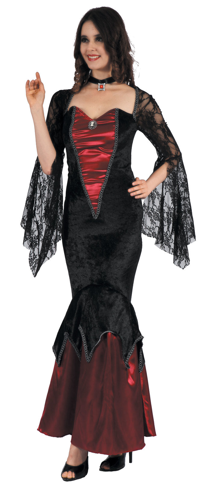 VAMPY VAMPIRESS HALLOWEEN COSTUME, ADULT - SIZE M