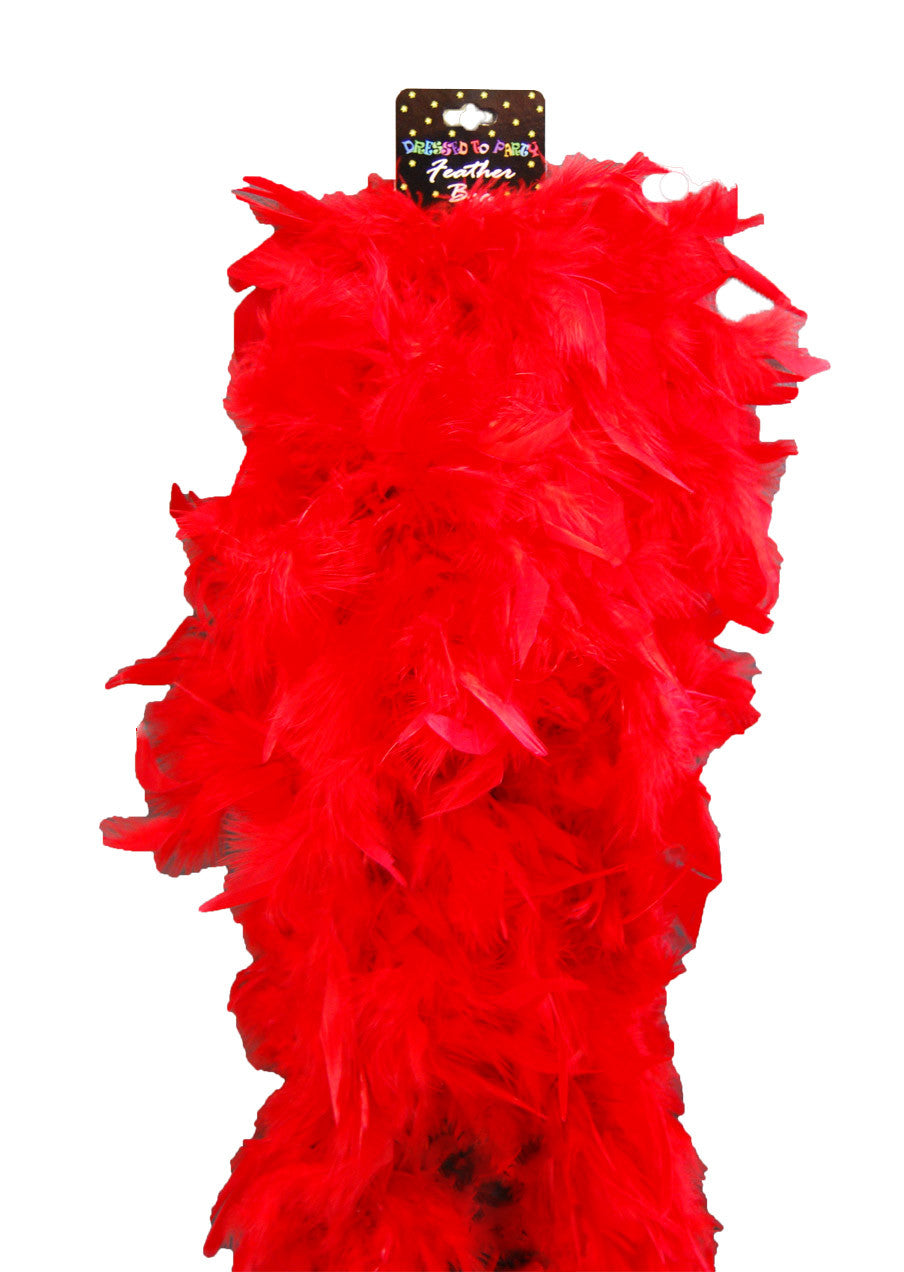 Deluxe Plush Turkey Boa 1.8m - RED