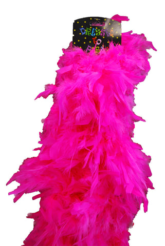 Deluxe Plush Turkey Boa 1.8m - HOT PINK