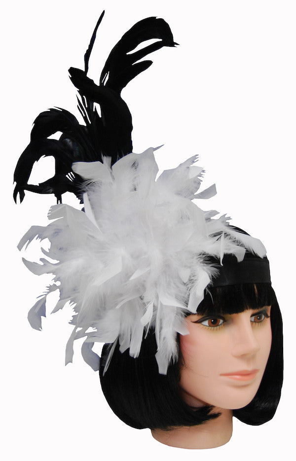 Feather Fascinator Headress - Black/Wht