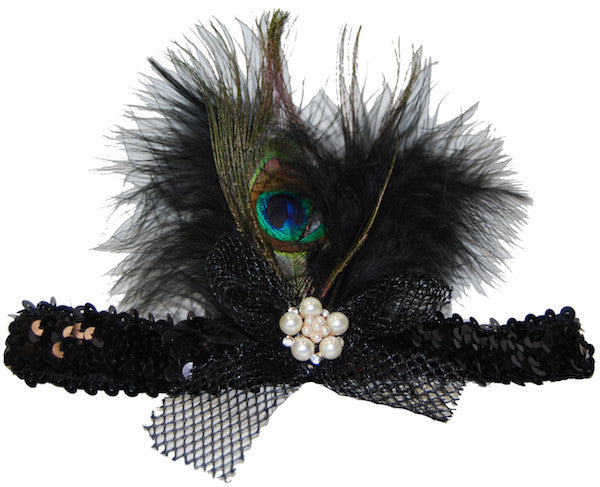 Peacock Feather Headband w/Mesh Bow