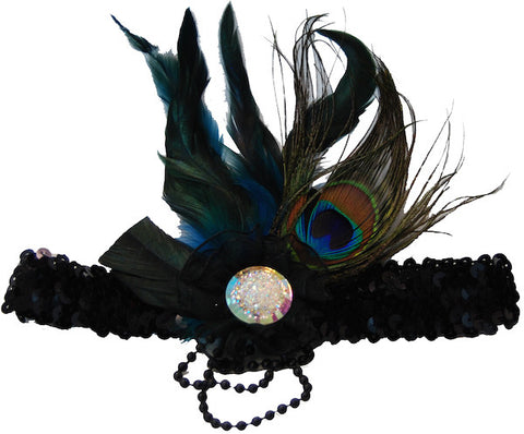 Peacock Feather Headband w/Flower