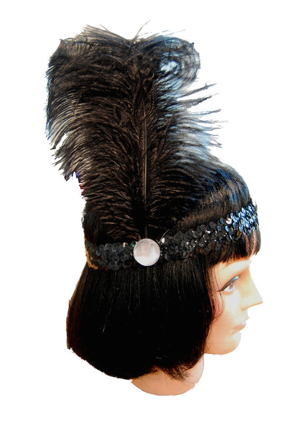 20s Headband Sequined - Black
