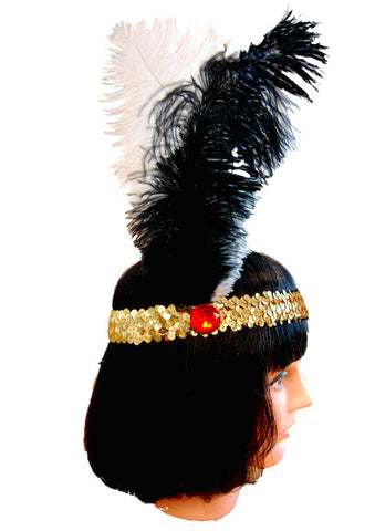 20s Headband Sequined - Black/White