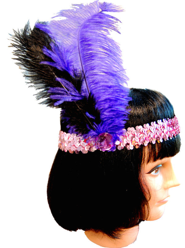 20s Headband Sequined - Purple