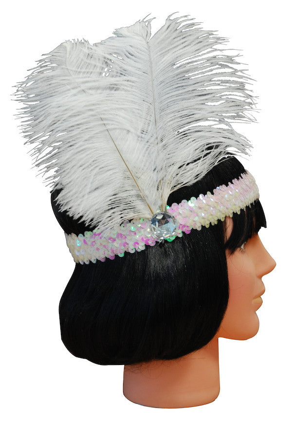 20s Headband Sequined - White